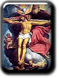 God with Holy Sprit holding Jesus on the Cross