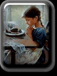 Girl Praying before Meal
